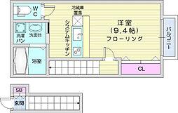 仙台市営南北線 台原駅 徒歩7分の賃貸アパート 2階ワンルームの間取り