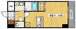 KafuuCourt矢賀 8階ワンルームの間取り