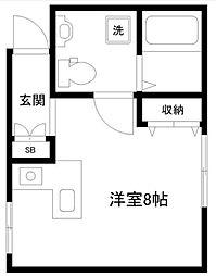 神奈川県横浜市港北区綱島西5の賃貸アパートの間取り