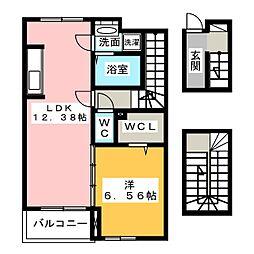 愛知県一宮市大和町妙興寺字中之町の賃貸アパートの間取り