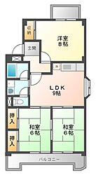七反田ハイツA棟[4階]の間取り