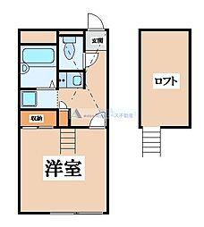 JR片町線(学研都市線) 四条畷駅 徒歩13分の賃貸マンション 2階1Kの間取り