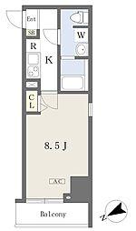 都営新宿線 本八幡駅 徒歩1分の賃貸マンション 5階1Kの間取り