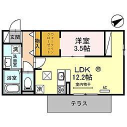 アルブルコート 3階1LDKの間取り
