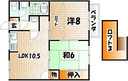 福岡県北九州市小倉南区北方2丁目の賃貸アパートの間取り