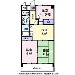 東京都羽村市富士見平2丁目の賃貸マンションの間取り
