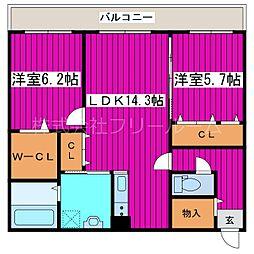 JR函館本線 星置駅 徒歩18分の賃貸マンション 5階2LDKの間取り