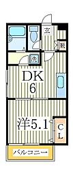 スタジオ北柏1[2階]の間取り