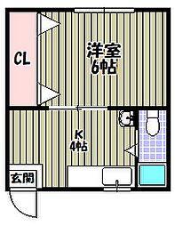 大阪府堺市堺区三条通の賃貸マンションの間取り