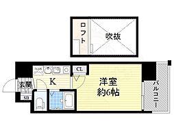阪神なんば線 九条駅 徒歩10分の賃貸マンション 5階1Kの間取り