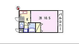 ルンゴフィューメ[1D号室]の間取り