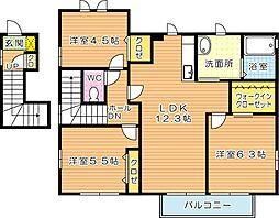 福岡県北九州市八幡西区本城学研台2丁目の賃貸アパートの間取り