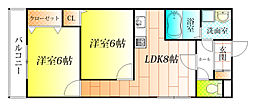 アベニュー藤井寺[4階]の間取り