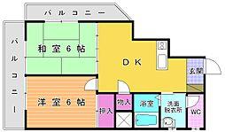 福岡県北九州市小倉北区砂津2丁目の賃貸マンションの間取り
