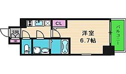 エスリード大阪上本町ブランシュ 8階1Kの間取り