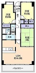 千葉県八千代市ゆりのき台2丁目の賃貸マンションの間取り