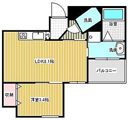 名古屋市営東山線 本山駅 徒歩6分の賃貸マンション 8階1LDKの間取り
