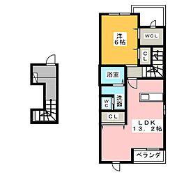 愛知県尾張旭市柏井町弥栄の賃貸アパートの間取り