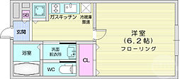 仙台市営南北線 愛宕橋駅 徒歩5分の賃貸マンション 2階1Kの間取り