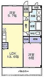 大阪府交野市私部1丁目の賃貸マンションの間取り