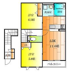 WING弐番館[2階]の間取り