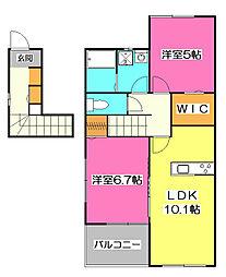 埼玉県新座市あたご3丁目の賃貸アパートの間取り