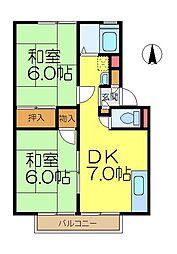 山口ハイツ[2階]の間取り