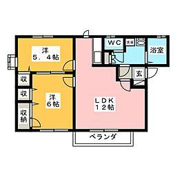 グランドハーベスト A棟[2階]の間取り
