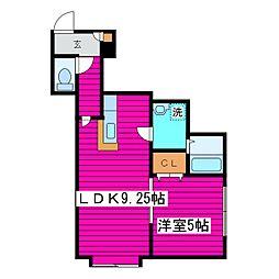 北海道札幌市北区篠路九条1丁目の賃貸アパートの間取り