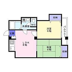 シャトー高濱[3階]の間取り