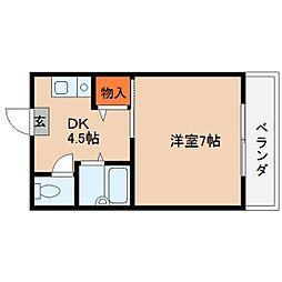 奈良県桜井市粟殿の賃貸マンションの間取り