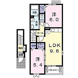レジデンスT・WEST 2階2LDKの間取り