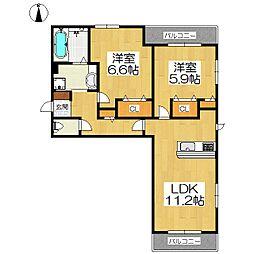 京都府京都市山科区勧修寺西北出町の賃貸アパートの間取り