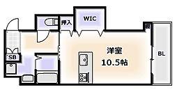 JR大阪環状線 新今宮駅 徒歩1分の賃貸マンション 6階ワンルームの間取り