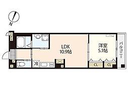 JR山陽本線 横川駅 徒歩10分の賃貸マンション 4階1LDKの間取り