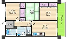 コーシャハイツ相生3号棟[4階]の間取り