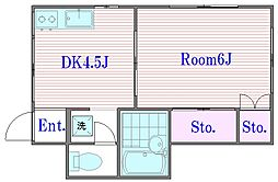 東京都板橋区前野町4丁目の賃貸アパートの間取り