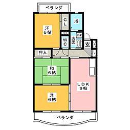 LaLa柿乃木坂[2階]の間取り
