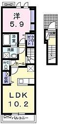 広島県福山市手城町4の賃貸アパートの間取り