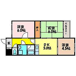 滋賀県大津市南志賀2丁目の賃貸マンションの間取り