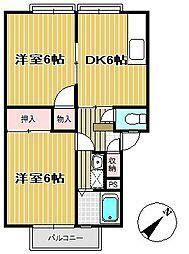 宮城県仙台市青葉区滝道の賃貸アパートの間取り