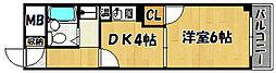 シャトルウッド 4階1DKの間取り