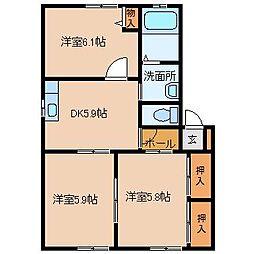 ラフレシアコーポD棟[1階]の間取り