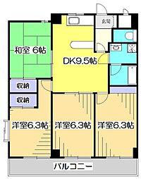 東京都国分寺市本多1丁目の賃貸マンションの間取り