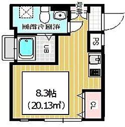 JR山手線 西日暮里駅 徒歩5分の賃貸マンション 4階ワンルームの間取り