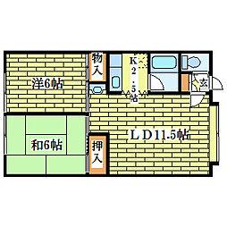 北海道札幌市清田区清田一条3丁目の賃貸アパートの間取り