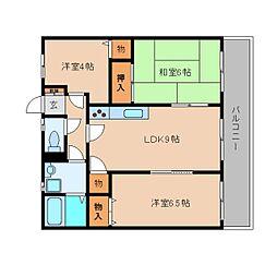 奈良県五條市二見5丁目の賃貸マンションの間取り