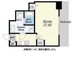 meetMe梅田西 6階1Kの間取り