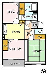 西武池袋線 東久留米駅 徒歩25分の賃貸マンション 3階3DKの間取り