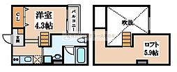大阪府堺市北区中長尾町1丁の賃貸アパートの間取り
